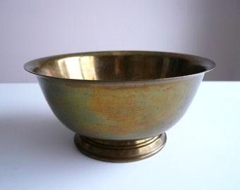 Vintage Brass Pedestal Bowl - 7 3/8 inch Brass Pedestal Bowl - Medium Sized Serving Bowl