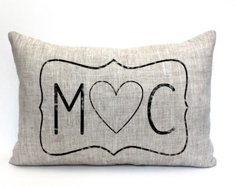 "initials pillow, custom pillow, name pillow, mother's day gift, valentine gift - ""The M heart C"""