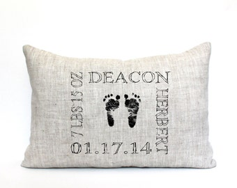 "baby gift, baby pillow, baby shower gift, child's name pillow, personalized pillow, birthday pillow - ""The Deacon"""