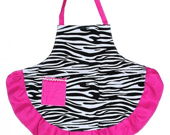 Personalized  Adult Zebra Apron with Hot Pink Accents  ZEB385-HOTPINK