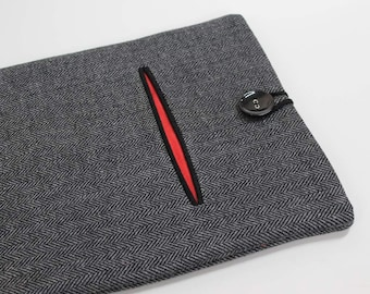 iPad Cover, iPad case, iPad sleeve, herringbone and linen, grey and red, 10 in tablet case, front pocket case, wool iPad case, tablet sleeve