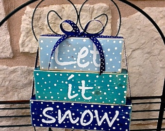 Let it Snow Christmas Decor Wood Stacked Block Sign with Ribbon