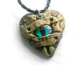 Steampunk dragon eye heart necklace Handmade Gift