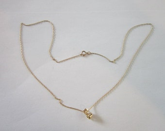 Vintage 10K Gold Chain Necklace & 10K Gold Pendant with Diamond Lovely