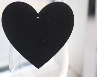 10cm large chalkboard peg heart for weddings parties table numbers or names