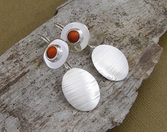 Red Carnelian and Silver Circle Earrings