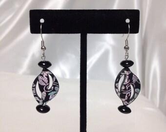 Silver and black earrings Drop earrings Dangle earrings earrings. 1 1/4 inch dangle