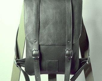 Dark gray leather backpack rucksack / To order / Small backpack / Leather backpack / Leather rucksack / Womens backpack / Christmas Gift