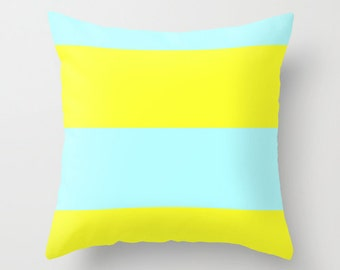 Blue and Yellow Pillow Cover -  Blue Pillow Cover - Yellow Pillow Cover - Ice Blue and Yellow Pillow