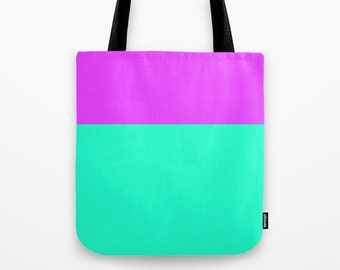 Orchid and Green Canvas Tote Bag, Color block tote bag, 13 x 13 inch tote bag, Small Tote Bag, Lunch Bag
