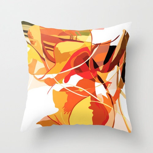 Orange Pillow Cover Mid Century Modern Pillow Cover Throw