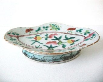 Antique Chinese Famille Rose Oval Pottery Footed Dish