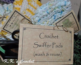 Green Cleaning Reuseable Crochet Swiffer Pads,  100% Cotton, Handmade!