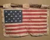 Handmade Quilted Flag, Americana, Vintage, Antiqued, Country, Primitive, Holiday, 4th of July