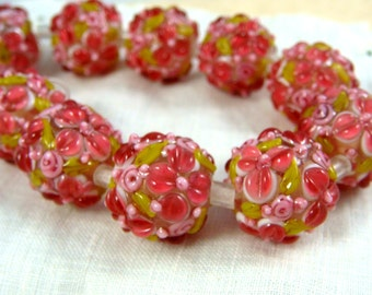 Lampwork Beads - Pink Lemonade Floral Lamp work Beads, Pink Flower Bead, Pink Glass Beads, Fuchsia Pink Beads - approx. 12mm - Qty. 2