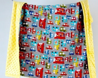 Large Baby/Toddler Blanket, Trucks and Buses with Yellow Minky Dot, Ready to Ship