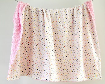 Large Baby/Toddler Blanket, Pink and Grey Polka Dots with Pink Minky Swirl, Ready to Ship