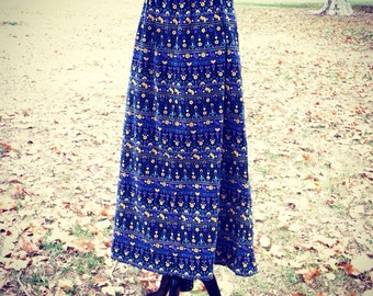 Fall or Winter velour long skirt with adorable vintage bird print