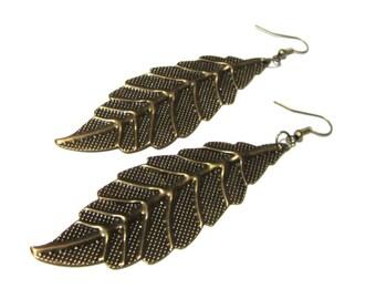 Metallic Leaf Earrings - Bronze Color