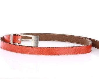 Women's Skinny Orange Leather Belt Elegant Chic, Colorful and Beautiful! 24100901