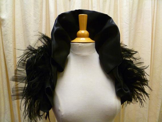 Custom order for Annette       Memento Mori Black Feather Wrap