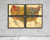 Geological Map Set of the United States - Vintage Geology - Circa 1874