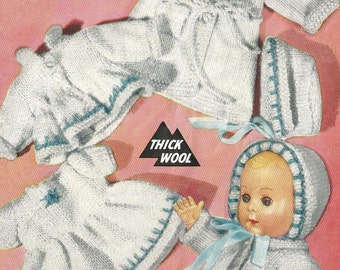 Dolls Clothes Knitting Pattern for 10 inch Dolls Clothes, Dress, Dressing Gown, Coat, Bonnett [DOWNLOAD]