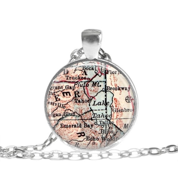 Tahoe california map necklace charm lake tahoe charm for Lake tahoe jewelry stores