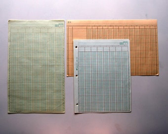 15 Sheets of Vintage Columnar/Accountants Work Sheet Pages, Paper Ephemera