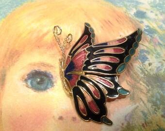 enamel vintage antique costume jewelry brooch pin butterfly animal