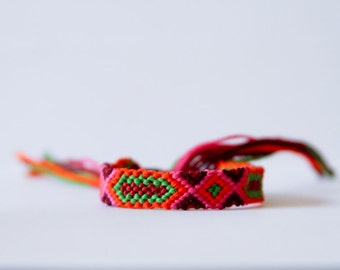 Friendship Bracelet Tribal Geometric Red Burgundy Orange Green and Pink Stocking Stuffer