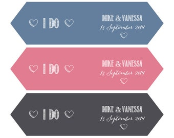 Printable wedding Straw Flags or Canapé flags with customised name, date and colour option.