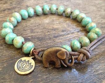 Elephant Jewelry, Lotus Bracelet, Leather Wrap Bracelet, Boho Bracelet, Bohemian Jewelry, Boho Wrap Bracelet, Boho Jewelry, twosilversisters
