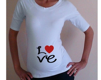 "Funny, maternity Shirt ""Love""  maternity clothes, Maternity tee"