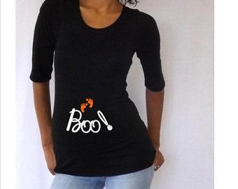 "Halloween maternity shirt  "" Boo ""  , Halloween Costume, Maternity clothes- maternity shirts funny- maternity shirts w/ sayings-"