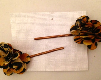 Cheetah Print Flower Bobbie Pins, Set of 2