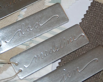 Custom Tags - Personalized Silver Metal / Aluminum Tags - Gift Tags / Name Tags / Favor Tag in Hand Calligraphy