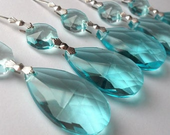 ONE Chandelier Crystals 38mm Antique Green Light Aqua Teardrop Prisms Aquamarine Almond