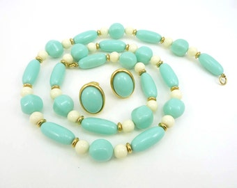 Trifari Necklace and Earring Set, Vintage Lucite Set, Turquoise and White Demi Parure