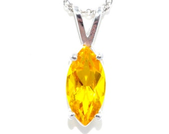 1 Carat Citrine Marquise Pendant .925 Sterling Silver Rhodium Finish
