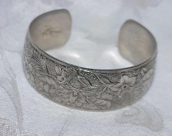 Vintage Floral Embossed Cuff Bracelet