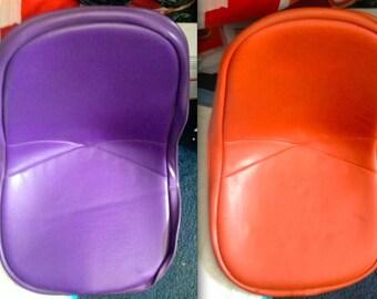 2 EAMES PURPLE + ORANGE Alexander Girard Naugahyde Padded Covers for Vintage Herman Miller Side Shell or Wire Chair Rare Original Vintage