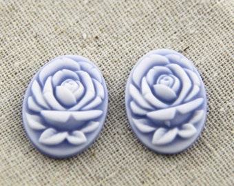 6 pcs of resin rose cabochon cameo 18x25mm-white on yellow