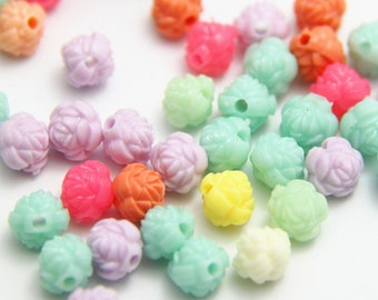 24 pcs of resin rosebud beads with hoe 8mm-0620-mixture color
