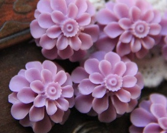 12 pcs of resin flower cabochon20mm-0031--6-lilac