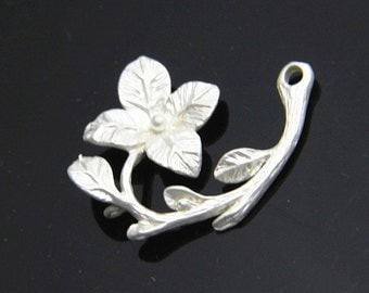 6 pss of  brass branch charm pendant 28x25mm 1696- matte silver