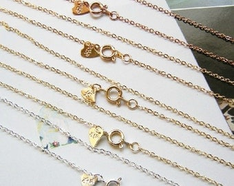 2 pcs of 1.5mm ready made brass chain 17inch 42cm-9921- 18k gold and silver-new thicker plate against tarnish the colors