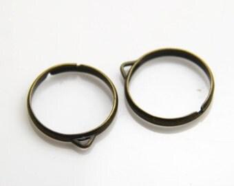 6pcs  brass ring adjustable open design antique bronze