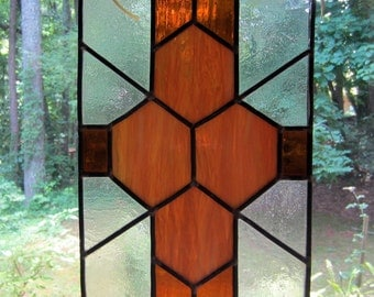 Vintage Leaded Glass Window.  Stained Glass Window Hanging. Brown Root beer Glass.