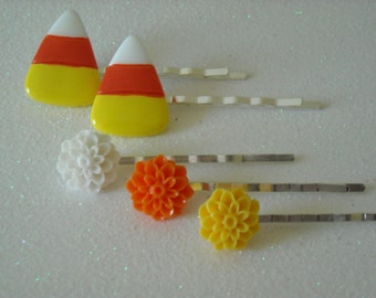 Halloween Candy Corn with White, Orange, and Yellow Chrysanthemum Flowers Silver Tone Bobby Pins